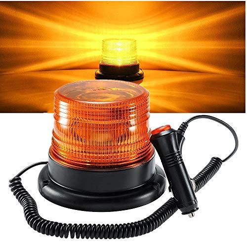 LED Warnleuchte Warnlicht 360 ° LED Rundumleuchte Auto Signal Mit 12v / 24v Zigarettenanzünder Stecker Super Magnetfuß Blitzleuchte (Orange)
