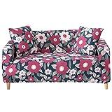 Funda para sofá con diseño moderno de 1/2/3/4 plazas, antideslizante, funda elástica para sofá y protector para mascotas, Lino, Girasol-verde oscuro., 3 Seater Slipcover+1pcs Pillowcase