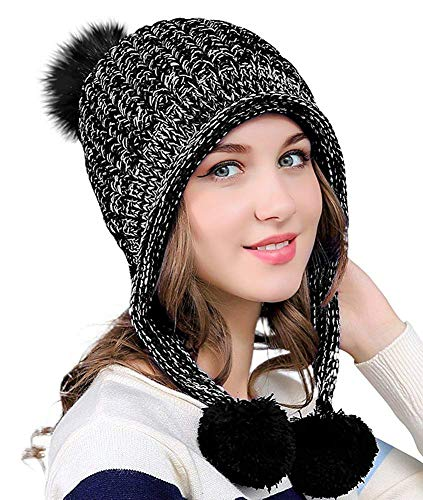 DOCILA Knit Hats for Women Soft Faux Fur Pom Beanie Skully Cap Breathable Wool Outdoor Peruvian Hat for Traveling Skii Camping (Black)