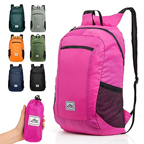 Hiking Backpack Ultra Lightweight Packable Camping Backpack Waterproof Travel Outdoor Hiking Daypack for Women Men (PINK 16L)