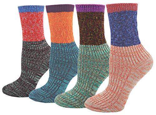 Women#039s Lady#039s 4 Pair Pack Vintage Style Colorful Cotton Crew Socks Multi Color1