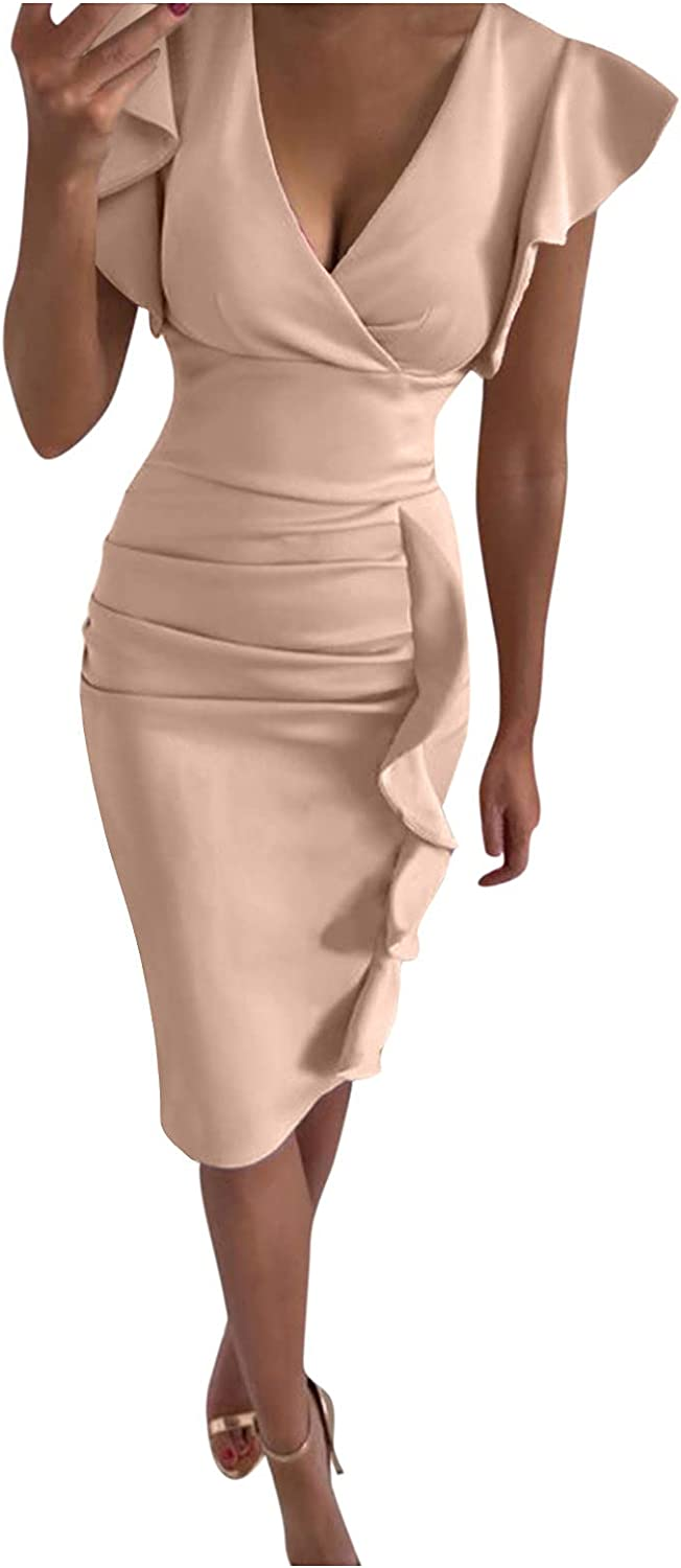 Women's Cocktail Dresses V Neck Ruffle Sleeves Party Pencil Formal Dresse Pleated Wrap Midi Dress 2021