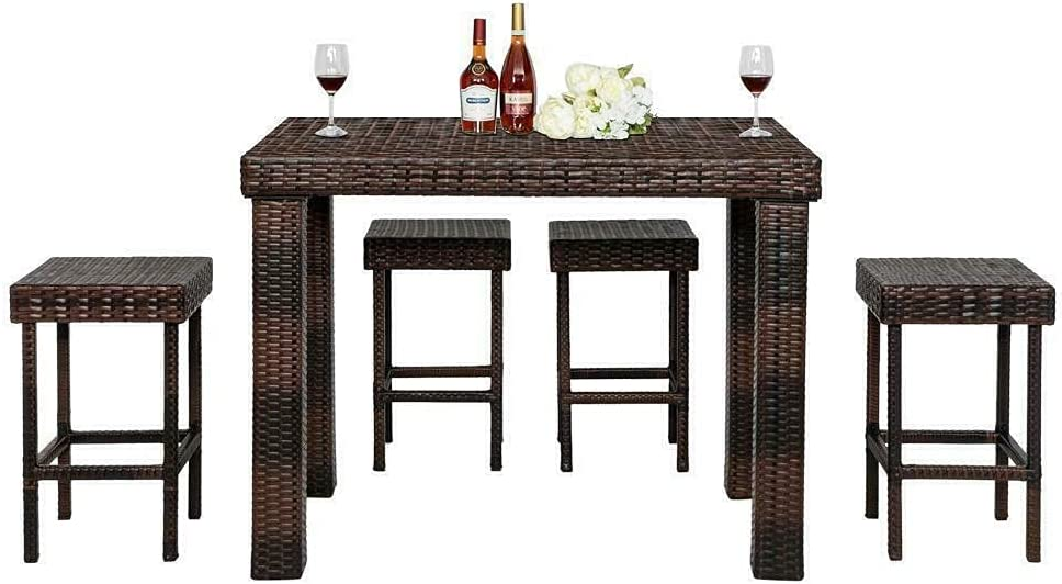 5 PCS Home Rattan Patio Dallas Mall Furniture Set Sets Chair Wicker Very popular! Table