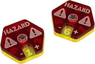 LITKO Gaslands Miniatures Game Hazard Dials, Translucent Red & Fluorescent Yellow (2)