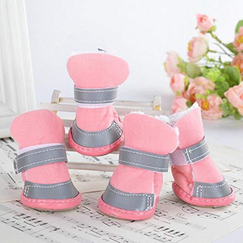 FHKGCD 4 Piezas/Conjuntos Múltiples De Botas De Lluvia para Mascotas Zapatos para Perros Antideslizantes Transpirables Zapatos Impermeables para Perros Sandalias Zapatos Deportivos Rosa 5