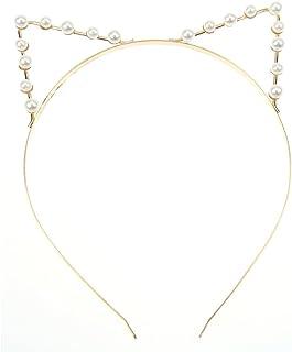 Bullidea Cute Fashion Cat Ear Party Pearl Crystal Rhinestone Headband Headwear Punk Hair Wrap Silver