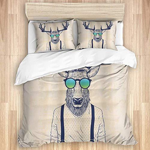 Funda nrdica, Ilustracin de Cuernos de Ciervo Disfrazado de Animal Divertido Creativo de Moda Hipster Fresco, Juego de Ropa de Cama con 1 Funda y 2 Fundas de Almohada Estilo