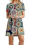 EFOFEI Femme Robe imprimée Florale Robe décontractée Courte Robe Tunique Vert 4XL