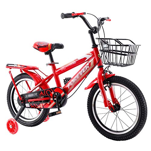 XBSLJ Kinder Fahrrad, Klappräder 14.12.16/18 Zoll, 95{eb6c8876cc523fe61a718308d1886e7bb608259c46671e32f29a93052c91b298} vormontierte Jungen- und Mädchenfahrräder, Doppelbremse/Rahmen aus Kohlenstoffstahl/Körbe/Gepäckträger hinten