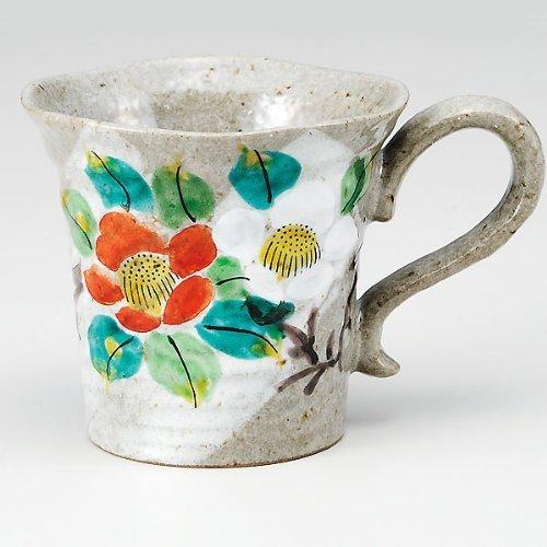 Kutaniyaki Sazanka/fleurs Mug en céramique de coupe à la main (japan import) K4–867