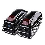 Catinbow Motorcycle Saddlebags Hard Trunk SaddleBags Luggage w/Lights Mount Rail Bracket for Honda Motorcycle Cruiser - 2pcs