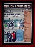 Casco KR 18 Salford Red Devils 19 - 2016 Millones Libra Juego - impresión enmarcada