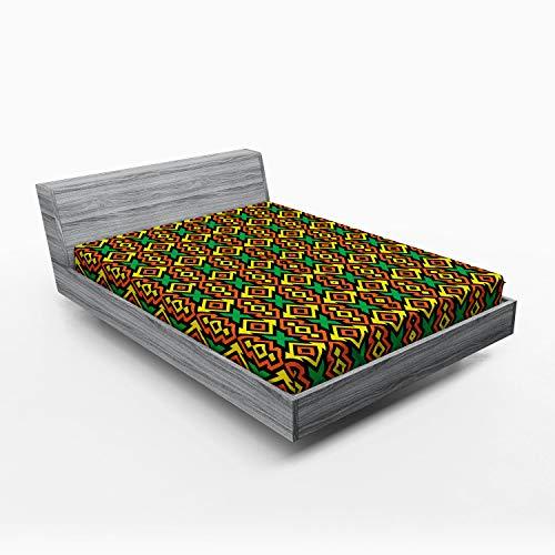 ABAKUHAUS patrón Kente Sábana Elastizada, Lámina, Suave Tela Decorativa Estampada Elástico en el Borde, 135 x 190 cm, Multicolor