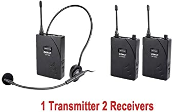 EXMAX UHF-938 UHF Acoustic Transmission Wireless Headset Microphone Audio Tour Guide System 433MHz for Church Translation Teaching Travel Simultaneous Interpretation(1 Transmitter and 2 Receivers)
