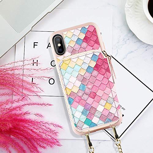 華やかなデザインが好みの方におすすめなのがこちらのスマホケース一体型ミニ財布。おしゃれなモザイク柄が目を引きます。カードポケットには小銭やカード、鍵などがすっぽり収納でき、財布としての機能性も十分備わっています。