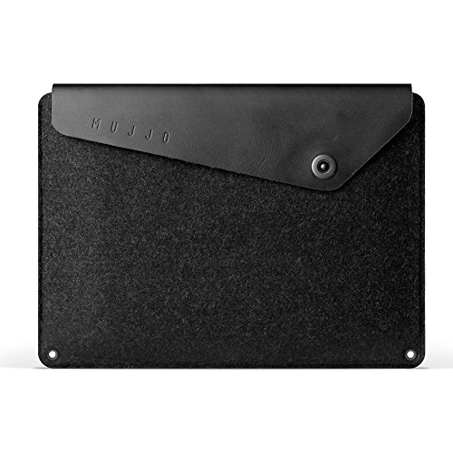 Mujjo Sleeve for 12-inch MacBook | Premium Wool Felt, Genuine Leather Flap with Snap Button Closure | Storage Compartments, Card Pocket (Black)