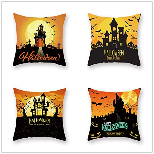 N / A Square Cushion Covers Linen Cotton with Invisible Zipper for Decorative Sofa and Couch Throw Pillow Case Halloween 4 Pack 40x40cm(16x16inch) Y464
