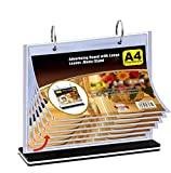 T-Shaped Multi-Page flip Acrylic Sign Holder, menu/Photo/Advertising/Beverage Display Stand, 8.5 x 11 inches