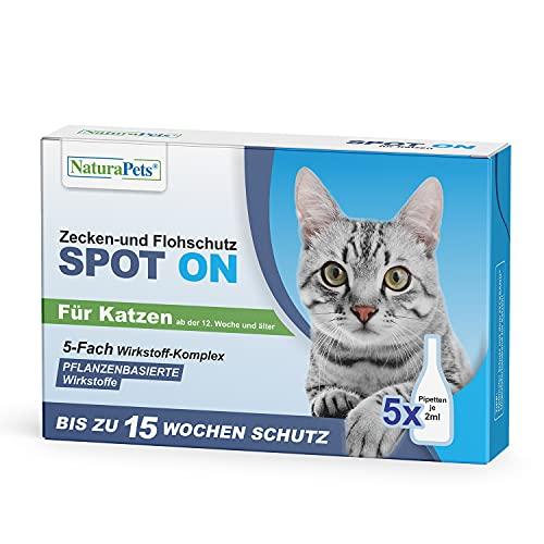 NaturaPets® Zecken- und Flohschutz Spot-on Lösung als Ungezieferschutz für Katzen, Zecken- und Flohschutz mit Pflanzenbasierte Wirkstoffe (5 x 2ml)