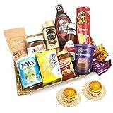 Jaiccha Ghasitaram Diwali Gifts Basket of 14 Goodies with 2 t-Lites