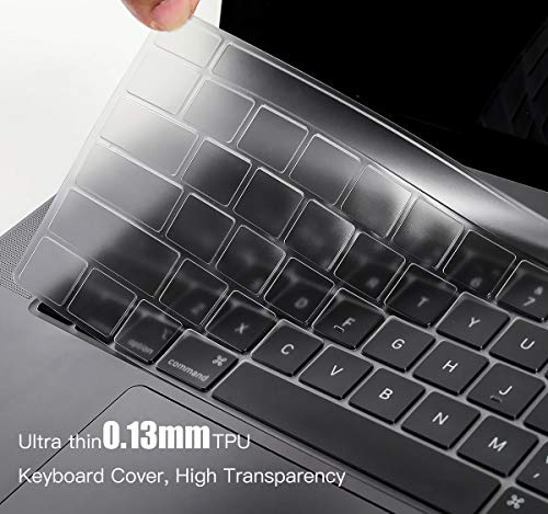 "Ultra Thin Keyboard Cover for 2020 Newest MacBook Pro 13 inch A2338 (M1) A2289 A2251 & 2020 2019 New MacBook Pro 16 inch… 4 COMPATIBILITY: The Keyboard Cover perfect fit for 2020 Newest MacBook Pro 13"" with Apple M1 Processor Model A2338 (M1) A2289 A2251 with Magic Keyboard and New Macbook Pro 16 Inch 2020 2019 Release Model A2141 with Touch Bar Touch ID Keyboard Cover Skin (NOT for other models), US Keyboard Layout. HIGH-GRADE TPU MATERIAL: Made with premium engineering grade TPU material, soft and flexible, healthy and environment friendly. ULTRATHIN & SLIM: Ultra thin 0.13mm thickness to minimize typing interference, high transparency film allows backlight keyboard to shine through."