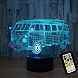 3D Illusion Night Light bluetooth Smart Control 7&16M Color Mobile App Led Vision Autobús escolar Línea USB USB con pilas Decoración para el hogar colorido Regalo creativo