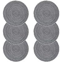 Juego de 6 manteles individuales de polipropileno trenzado con forma de cruz y algodón, de U'Artlines.