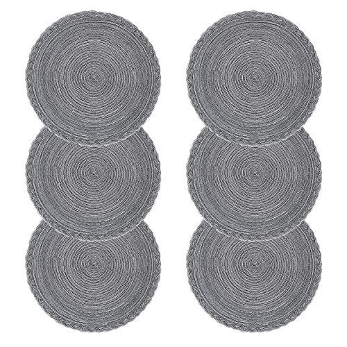 U'Artlines rundes Tischmatten-Set aus geflochtenem Polypropylen und Baumwolle mit Kreuzgewebe, 6-teilig Braided-grey 1