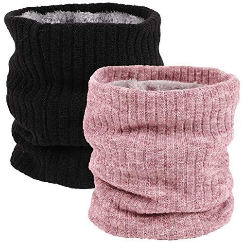 Calentador de Cuello Bufanda de Tubo Lazo para Hombre y Mujer Bufanda Hombre Bufandas Invierno Mujer Caliente de Punto Forro Polar Loop Bufanda Esquí Moto Ciclismo Tubular Calentador (rosa&negro)