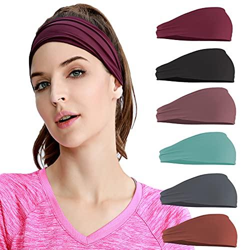 Cinta deportiva para mujer, banda ancha para el pelo, elástica, antideslizante, transpirable, para maquillaje, yoga, correr, senderismo, fitness, entrenamiento, 6 unidades