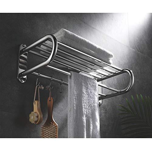 LCSD Almacenamiento de baño Toallero De Baño En Forma De U con Gancho Elástico 40-70cm 304 Toallero De Acero Inoxidable Toallero Telescópico