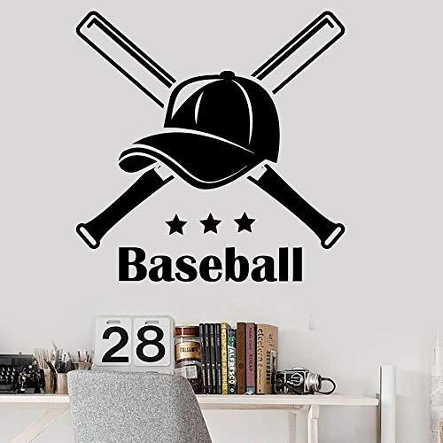 Tianpengyuanshuai Wortbeschriftung Wandtattoo Baseballkappe Sport Teen Schlafzimmer Hauptdekoration Vinyl Aufkleber Schließfach Wandbild 63X63cm