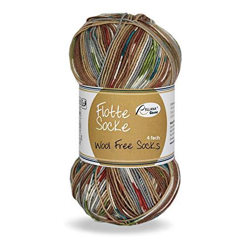 Rellana Flotte Socke Wool free Socks 4f. 100 Gr. für Wollallergiker,Sommersockenwolle, (1371 Grau-braun)