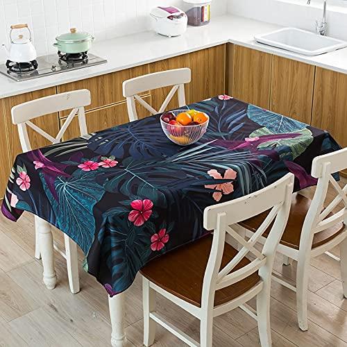 XXDD Mantel geométrico de Hojas de Plantas Tropicales Impermeable, a Prueba de Polvo, Cubierta de Mantel Lavable para manteles de Restaurante A7 140x160cm