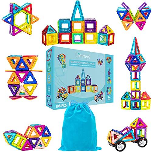 Limmys Magnetische Bausteine – Magnetspielzeug ab 3 Jahre für Jungen und Mädchen – Pädagogisches Naturwissenschaftliches Spielzeug 108-teilig mit Ideenheft und eine Bonus Kordelzugtasche