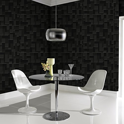 Graham & Brown Shape and Form Checker Geometric Wallpaper, Black