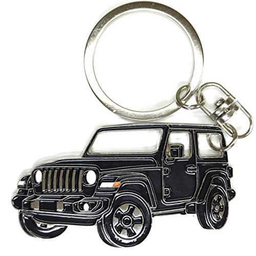 Wrangler keychain Compatible with Jeep for car accessories. Chrome metal tag, enamel. Replica. (black)