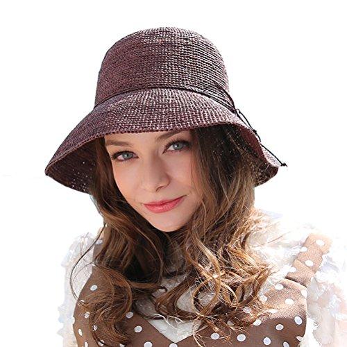 RIONA Damen Sommer Handgewebte Faltbare Wide Brim Fischer 100% Bast Straw Sonnenhut einheitsgröße kaffee