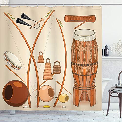 Lunarable Musik-Duschvorhang, brasilianisches Capoeira-Instrumente, Djembe Bongo Percussion Rhythmus Tribal Kultur, Stoffstoff Badezimmer-Deko-Set mit Haken, 177,8 cm lang, Mehrfarbig