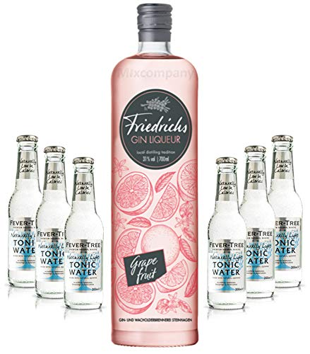 Friedrichs Gin Liqueur Grapefruit 0,7l 700ml (31% Vol) + 6x FEVER-TREE Naturally Light Indian Tonic Water 0,2l MEHRWEG inkl. Pfand Gin Tonic Bar- [Enthält Sulfite]