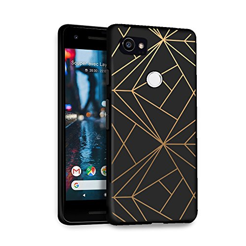 HELLO GIFTIFY Phone Case Compatible with Google Pixel 2 XL (6.0 inch 2017) Black Soft TPU Gel Protective Rubber Cover, Geometric Gold Designed