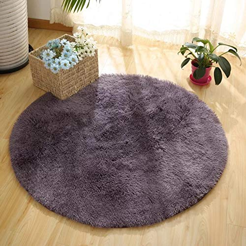 JJSDT Tapijt hoogpolig ronde mat kinderkamer vloerkleed eenkleurig tapijt voor woonkamer slaapkamer matten I-slip matten voor baby kruipen