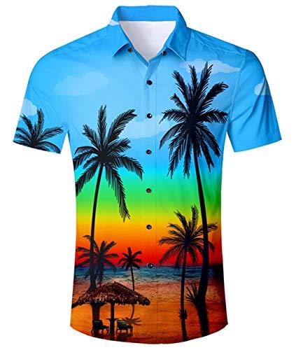 Idgreatim jugendlich Jungen Sommer Strand PalHerren hawaiianische Hemden Weinlese Druck Kurzarm T Hemden Shirts