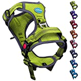 ThinkPet No Pull Harness Breathable Sport Harness with Handle-Dog Harnesses Reflective Adjustable for Medium Large Dogs,Back/Front Clip for Easy Control L Green