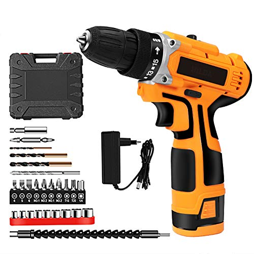 NOBUNO 16.8V Electric Drill with Rechargeable Lithium Battery Electric Screwdriver Cordless Screwdriver Two-Speed Power Tools