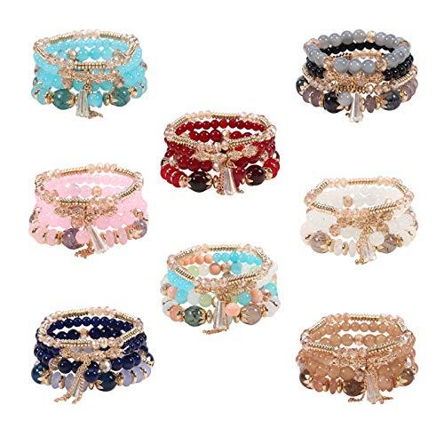 Twinfree 8 Sets Bohemian Stackable Bead Bracelets for Women Multilayered Bracelet Set Pendant Charm Stretch Bangles