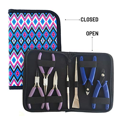 Flying K Jewelry Tools, Jewelry Pliers. Including a Crimper, Organized Zipped Case for Your Jewelry Making Tools. These Jewelry Making Supplies Will Help with Beading, Wire, or Repairs. (Diamond)
