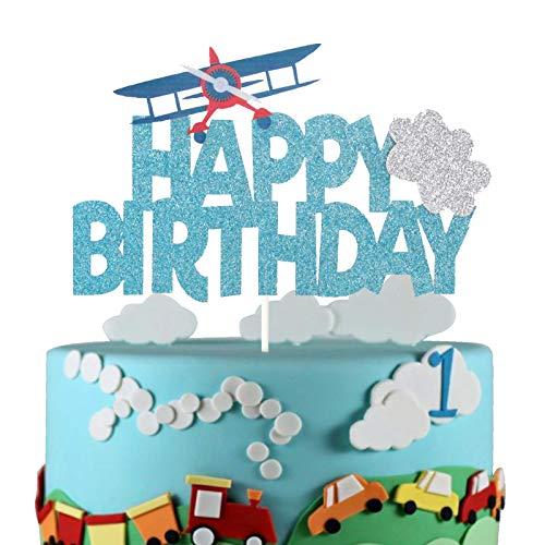 Airplane Happy Birthday Cake Topper First Birthday Party Decoration Travel Theme Kids Birthday Party Supplies