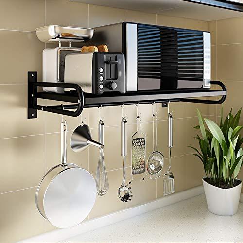 Küchenregal für Mikrowelle, Wandregal Metall [schwarz]
