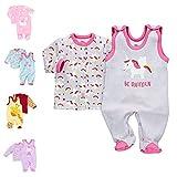 Baby Sweets 2er Baby-Set mit Strampler & Shirt für Mädchen/Baby-Erstausstattung in Grau-Rosa im Einhorn-Motiv als Baby-Bekleidung/Mädchen-Strampler-Set im Baby-Outfit/Größe: 3-6 Monate (68)
